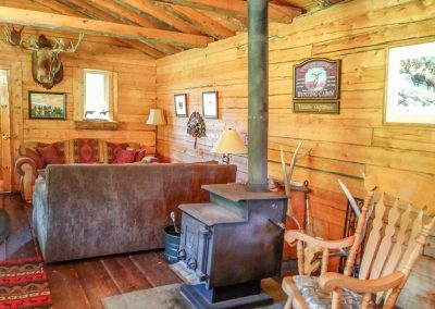 hunting cabin with fireplace