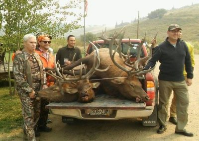 Hunters with their kill in back of truck